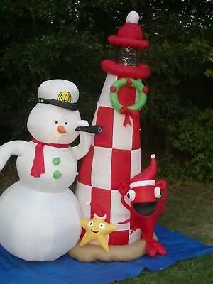 Gemmy 7' Christmas LightedSnowman & Rotating LightHouse Airblown Inflatable