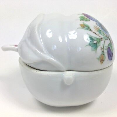 Made in Japan Exclusively for Elizabeth Arden Peach Sugar Bowl Lid Spoon Floral