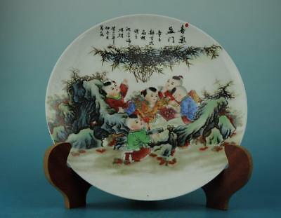 Chinese antique hand-made famille rose porcelain children pattern plate b01