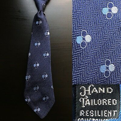"""Circle Quartets"" Navy Blue Herringbone Tie EUC VTG 1930s 1940s Art Deco"
