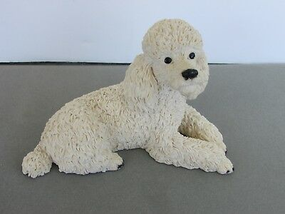 Poodle white dog figure ornament laying Castagna model by hand made in Italy