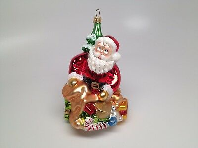 """Polish Hand Blown Painted Glass Christmas Ornament Santa With Gifts Tree 4""""x3"""""""