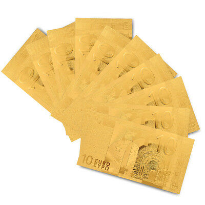 10PCS Gold Plated Banknote Euro 10 Set Gold Currency Bill Note Collectibles