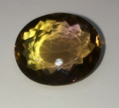 13.50 cts AAA PURPLE & GOLDEN AMETRINE OVAL 15.9x18.8x7.6mm VVS BOLIVIA SUPERB