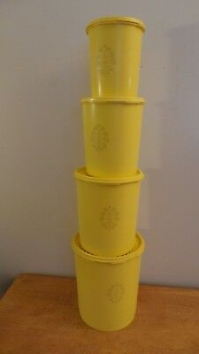 Vintage Lot of 4 Tupperware Yellow Canisters with Lids