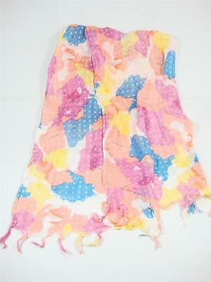 Glentex Oblong Scarf Neck wrap cotton bright painting design colors pink blue