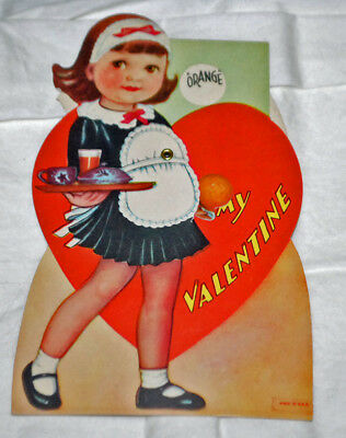 Vintage Antique Mechanical Valentine w/ Girl Waitress 1936