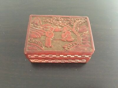 19th or Early 20th Small Chinese Antique Cinnabar Lacquer Rectangle Box