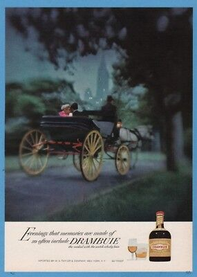 1968 Drambuie Liqueur Couple evening horse carriage vintage photo print Ad