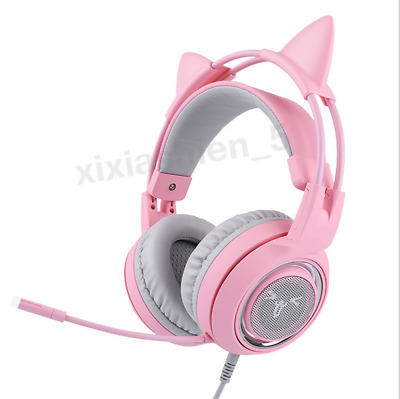 New Pink Cat USB 7.1 Sound Track Gamer Head-mounted PC Headphones GAMING Headset