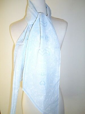 Glentex oblong neck scarf wrap sky lite blue with tapestry design New