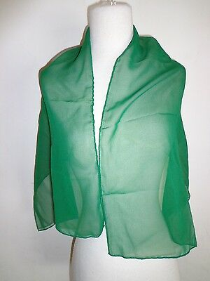 Glentex Oblong Scarf Neck wrap solid dark green solid color sheer material New
