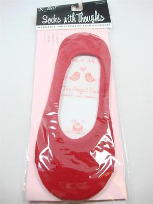 K. Bell red ankle Socks in Greeting card  gift to mail You me perfect Pair Love