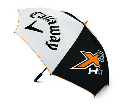 "NEW! Callaway Golf X2 Hot Umbrella -  64"" - Black & Orange - Push Button -  PGA"