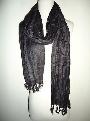 Glentex black solid color flower pattern oblong rayon neck wrap scarf  New