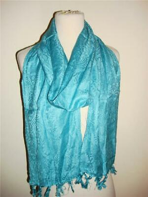 Glentex Rayon oblong scarf belt wrap solid turquoise blue color flower print New
