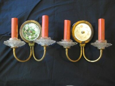 2 ANTIQUE FRENCH MIRRORED BRASS & CRYSTAL CHANDELIER SCONCE WALL LAMP w MIRROR