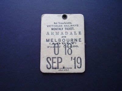 Victorian railways monthly ticket dated September 1919