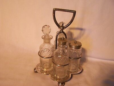 vintage cruet set walker & hall 742 silver plate salt & pepper mustard kitchen
