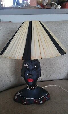 RARE early Black lady Barsony lamp numbered LF2 with shade .