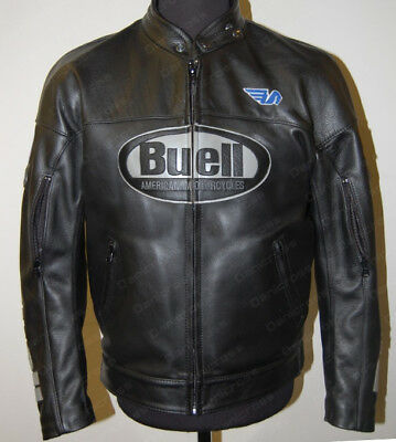 Buell Cowhide Leather Motorcycle Racing Jacket With Ce Armor Protection