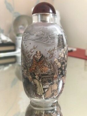 Amazing Detailed Chinese Inside Painted Crystal Glass Snuff Bottle