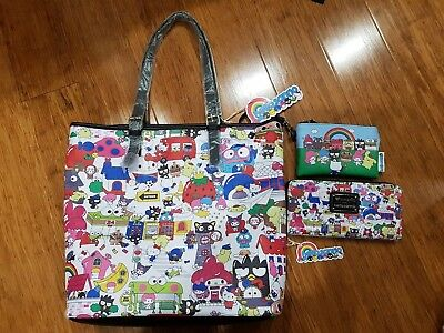 New Loungefly: Sanrio Hello Kitty Town Print Set - Tote Bag, Coin Purse & Wallet