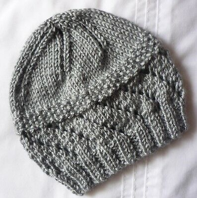 Newborn Baby Beanie. Soft Grey. Boy Or Girl Baby. Hand-Knitted By Me.