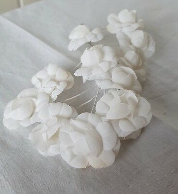 Bundle Vintage White Fabric Millinery Flowers Wire Thread Wrapped Stems French