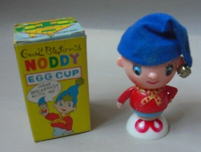 Boxed Vintage Novelty Plastic 1960's Noddy Egg Cup with Blue Hat with Bell