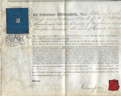 Vellum Indenture for an Apprentice Merchant Taylor, 1865