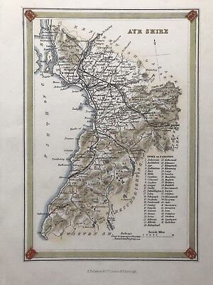Antique Map AYR SHIRE by Fullarton 1875, Scotland Parishes outline color