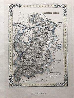 Antique Map SELKIRK SHIRE by A Fullarton 1875 Scotland Parishes outline color