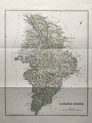 Original County Map LANARK SHIRE by Lizars 1885, Scotland Parishes, color