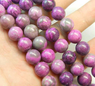 10mm Pink Crazy Lace Agate Gem Round Loose Bead 15''