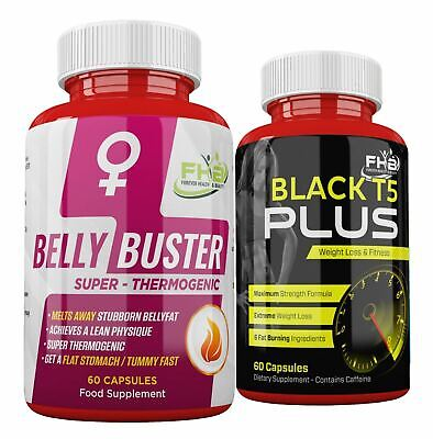 BELLY FAT BUSTER For Women + T5 BLACK FATBURNER Diet Pills For FAST WEIGHT LOSS
