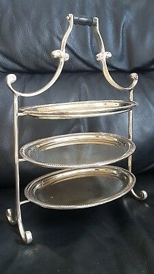 Vintage 3 Tier Silver Plated Cke/Sandwich Stand