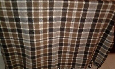 Vtg Samband Of Iceland Pure New Wool Fringed Throw,62X58 Excellent..browns