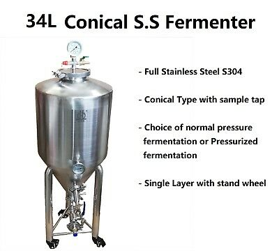 34LFull Stainless Steel S304 Conical Fermenter