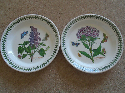 "2 x PORTMEIRION 8.5"" PLATES. BOTANIC GARDEN SWEET WILLIAM AND LILAC.  NEW."