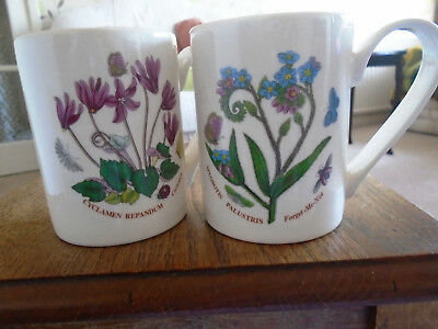 2 x PORTMEIRION MUGS, CYCLAMEN AND FORGET-ME-NOT. 2 MUGS / BEAKERS. NEW.