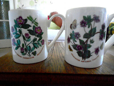 2 x PORTMEIRION MUGS, PIMPERNEL AND RHODODENDRON. 2 MUG / BEAKERS. NEW.