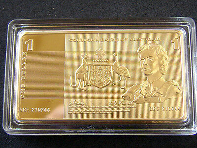1.15 ounce Gold Plated bar/ingot of $1 Australian Bank Note. Big and spectacular