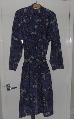 Vintage Mens Dressing Gown/Smoking Jacket M&S Blue/Red Paisley Medium made in UK