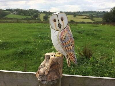 Hand Carved Barn Owl Painted Detailed Wooden Ornament on Tree stump Carving Bird