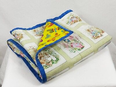 Handmade Patchwork Quilt Topper Nursery Baby Cot Playmat Peter Rabbit Bright
