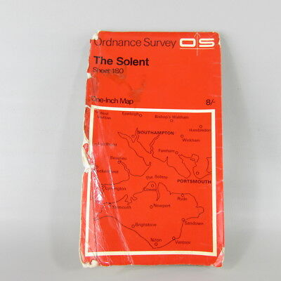 UK England 1968 VTG OS Ordnance Survey one-inch map 180 The Solent