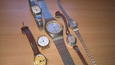 A Job Lot of Vintage Watches. (6) Oris, Ingersoll, Timex etc  Spares or Repair.