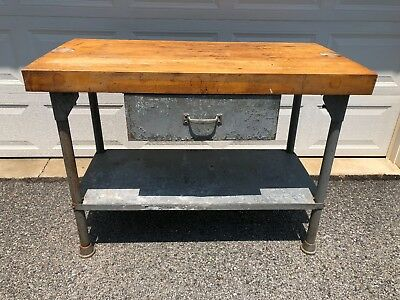 Original Vintage Butchers Block Table Galvanized Legs and Drawer