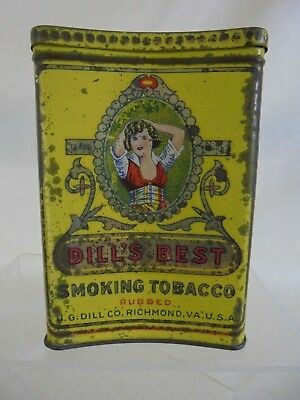 Antique Lithographed Pocket Tin J.G.Dills Best Cured Tobacco 1910 With Striker